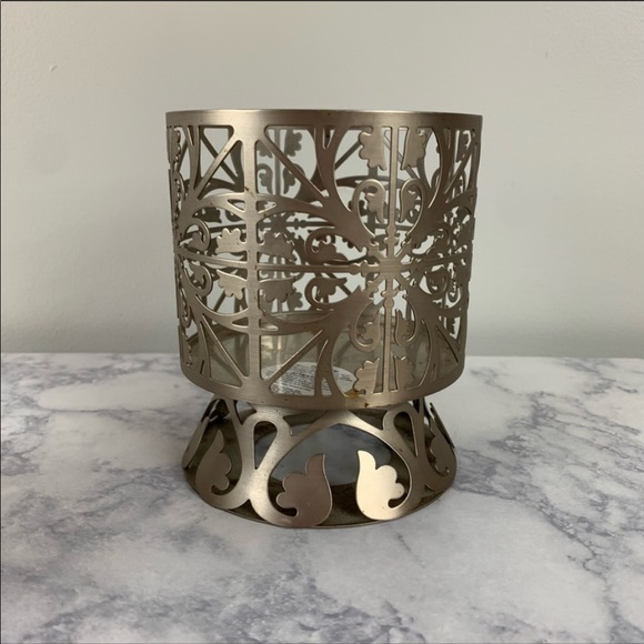 Bath and Body Works 3- Wick Candle Holder Metal Design